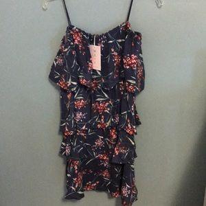 WAYF ruffle cold shoulder dress size M